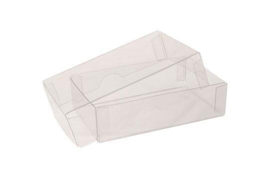 Visitkortæske (låg & bund i glasklar plast): Indvendige mål 93x58x25 mm. Klar PET. Sælges i bundt/kolli á 50stk.