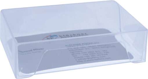 Visitkortæske (låg & bund i glasklar plast): Indvendige mål 93x58x25 mm. Sælges i bundt/kolli á 100 stk.