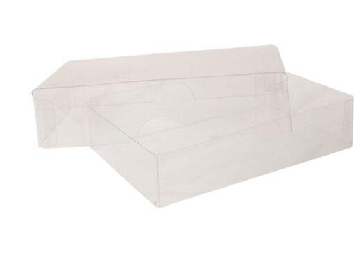 Visitkortæske (låg & bund i glasklar plast): Indvendige mål 105x68x25 mm. Klar PET. Sælges i bundt/kolli á 50 stk.
