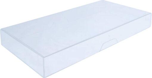 Visitkortæske (låg & bund i glasklar støbt plast): Indvendige mål 214x109x25 mm. Sælges i bundt/kolli á 21 stk.