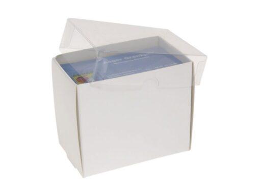 Varenr. 3018 - Kartonbund til visitkortæske (plastlåg bestilles separat): 90x56x80 mm. Sælges i bundt/kolli á 100 stk.
